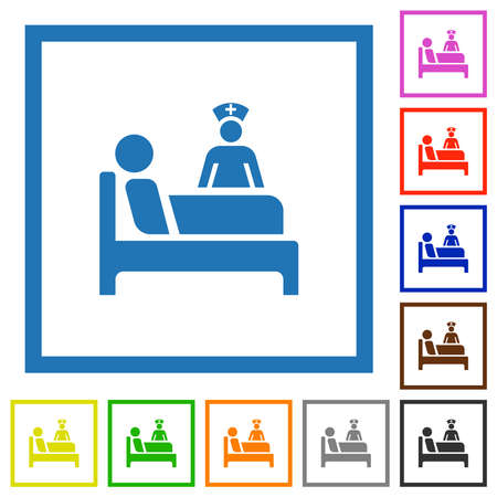 Inpatient flat color icons in square frames on white background