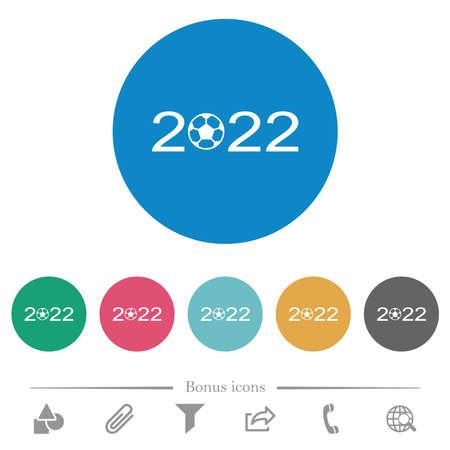 Soccer tournament 2022 flat white icons on round color backgrounds. 6 bonus icons included. Vektoros illusztráció