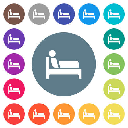 Inpatient flat white icons on round color backgrounds. 17 background color variations are included.
