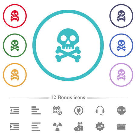 Skull with bones flat color icons in circle shape outlines. 12 bonus icons included.