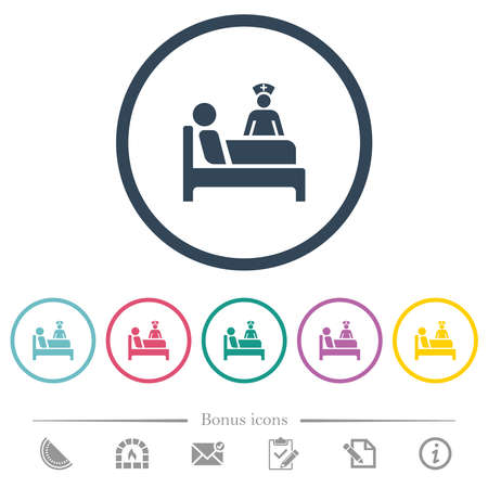 Inpatient flat color icons in round outlines. 6 bonus icons included.