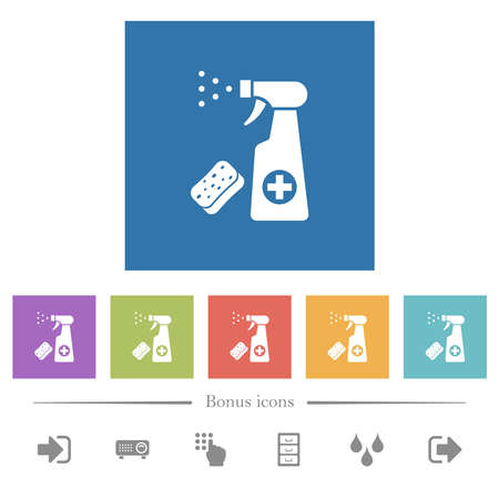 Disinfection spray and sponge flat white icons in square backgrounds. 6 bonus icons included.
