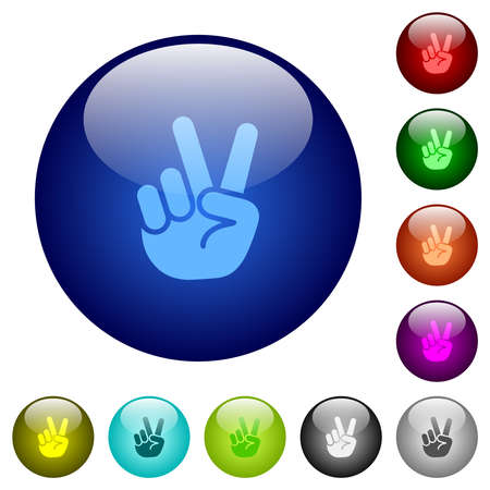Victory sign hand gesture icons on round glass buttons in multiple colors. Arranged layer structure