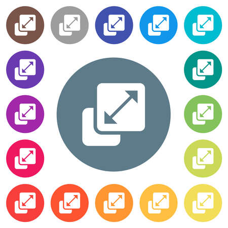 Resize element flat white icons on round color backgrounds. 17 background color variations are included.