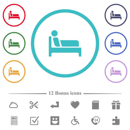Inpatient flat color icons in circle shape outlines. 12 bonus icons included.