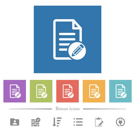 Edit document flat white icons in square backgrounds. 6 bonus icons included.