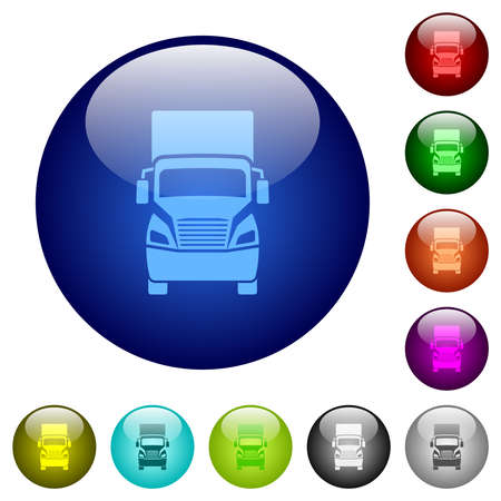 Truck front view icons on round glass buttons in multiple colors. Arranged layer structure Ilustración de vector