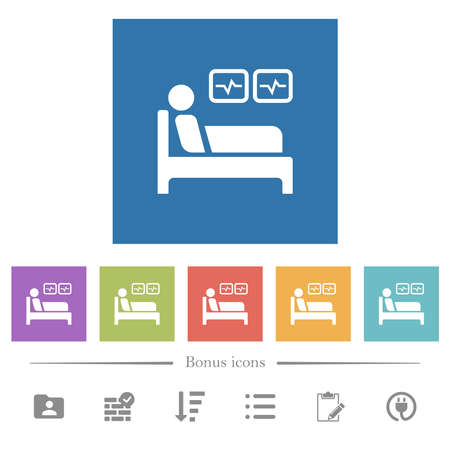 Intensive care flat white icons in square backgrounds. 6 bonus icons included.