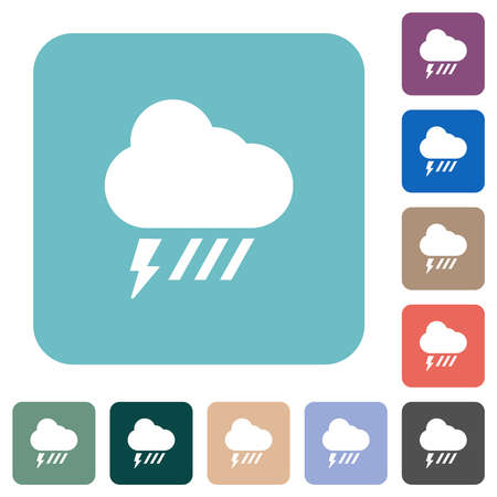 Stormy and downpour weather white flat icons on color rounded square backgrounds