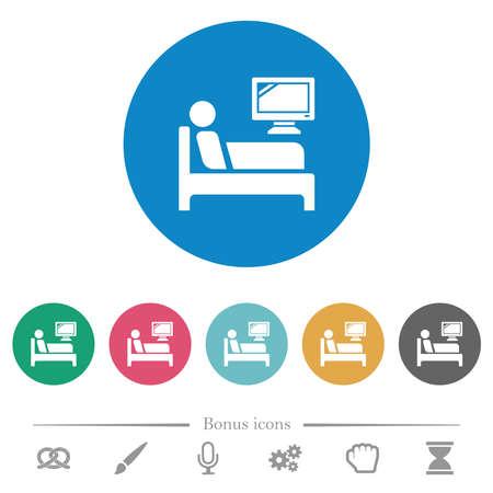 Hospital ward flat white icons on round color backgrounds. 6 bonus icons included.