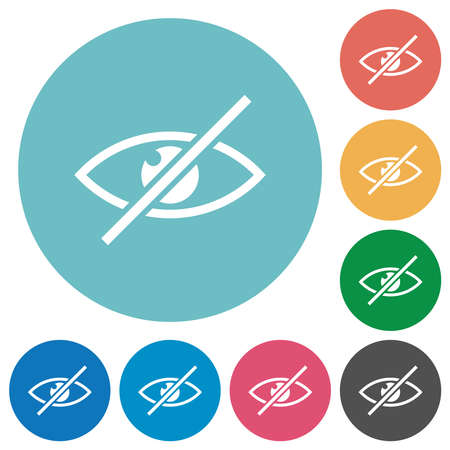 Visually impaired flat white icons on round color backgrounds