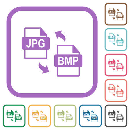 JPG BMP file conversion simple icons in color rounded square frames on white background Ilustracja