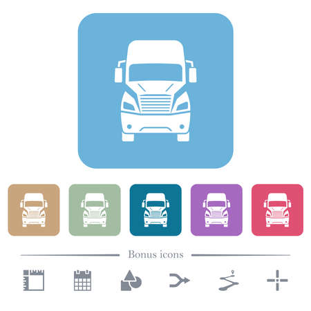 Truck front view white flat icons on color rounded square backgrounds. 6 bonus icons included