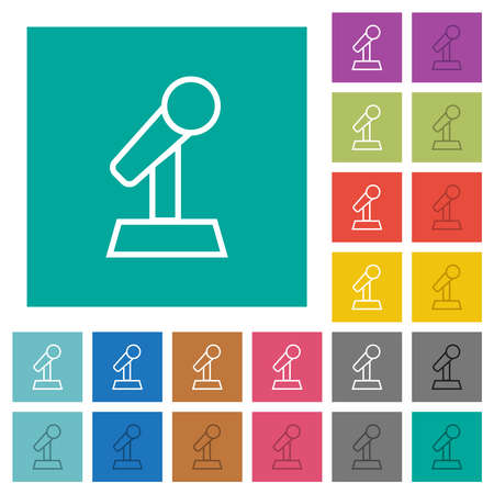 Microphone with stand outline multi colored flat icons on plain square backgrounds. Included white and darker icon variations for hover or active effects.