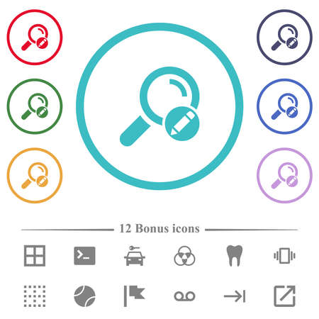 Edit search terms flat color icons in circle shape outlines. 12 bonus icons included.