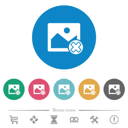 Cancel image operations flat white icons on round color backgrounds. 6 bonus icons included. Ilustracja