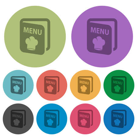 Menu with chef hat darker flat icons on color round background