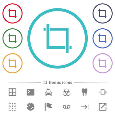Crop tool flat color icons in circle shape outlines. 12 bonus icons included.