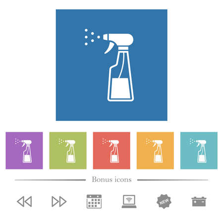 Spray bottle flat white icons in square backgrounds. 6 bonus icons included.