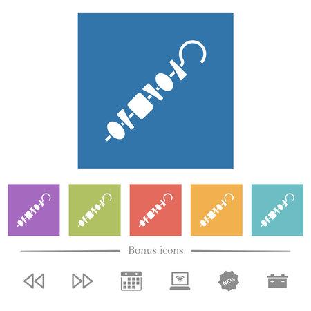 Shish kebab on skewer stick flat white icons in square backgrounds. 6 bonus icons included. Ilustracja