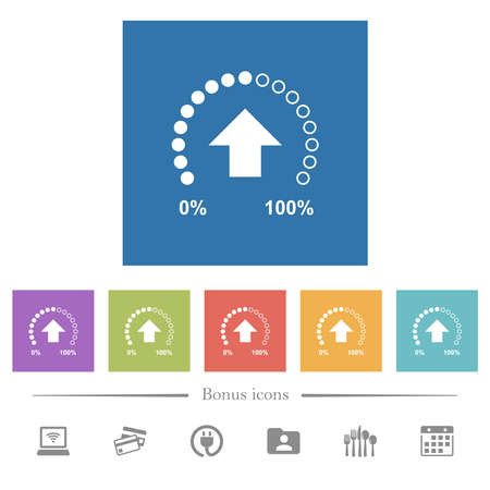 Upload in progress flat white icons in square backgrounds. 6 bonus icons included. Ilustracja