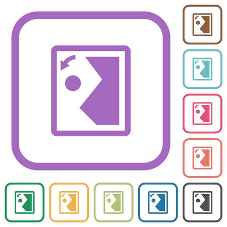 Rotate image left simple icons in color rounded square frames on white background Ilustracja