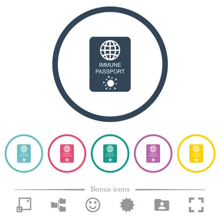 Immune passport flat color icons in round outlines. 6 bonus icons included.