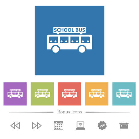 school bus with passengers side view flat white icons in square backgrounds. 6 bonus icons included.