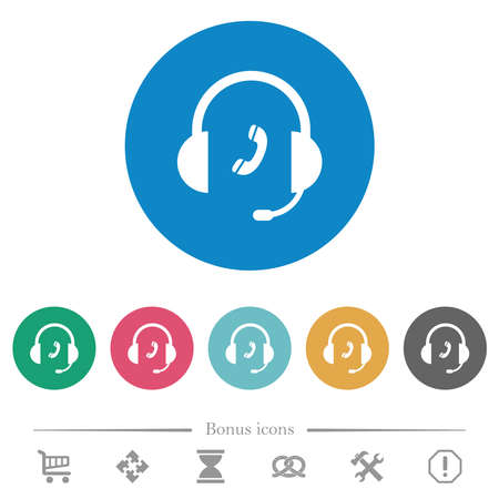 Call customer service flat white icons on round color backgrounds. 6 bonus icons included.