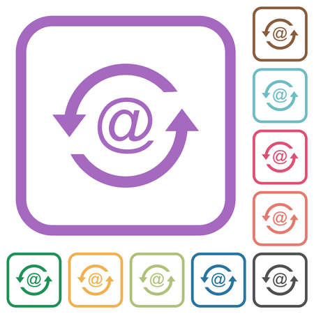 Reload emails simple icons in color rounded square frames on white background Ilustracja