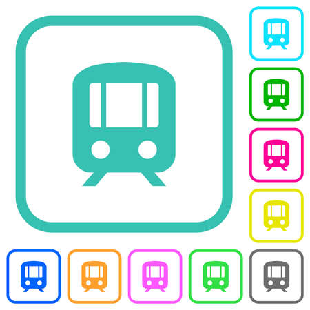 Train vivid colored flat icons in curved borders on white background
