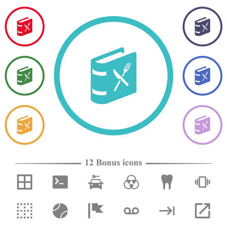 Cookbook with knife and fork flat color icons in circle shape outlines. 12 bonus icons included.