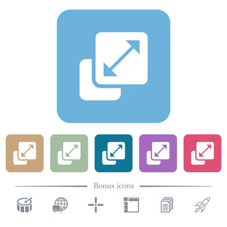 Resize element white flat icons on color rounded square backgrounds. 6 bonus icons included