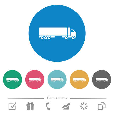 Camion side view flat white icons on round color backgrounds. 6 bonus icons included.