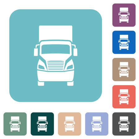 Truck front view white flat icons on color rounded square backgrounds