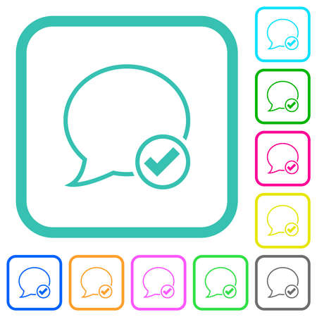 Apply message outline vivid colored flat icons in curved borders on white background