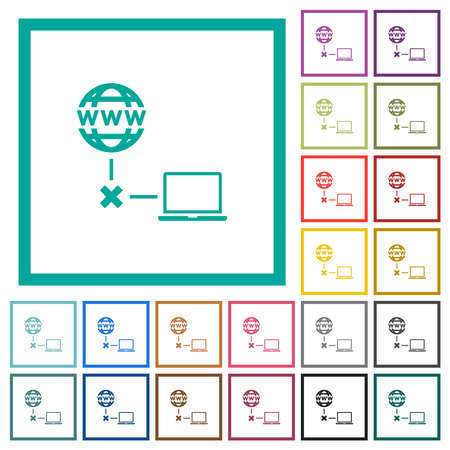 Offline laptop flat color icons with quadrant frames on white background