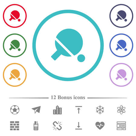 Table tennis flat color icons in circle shape outlines. 12 bonus icons included.