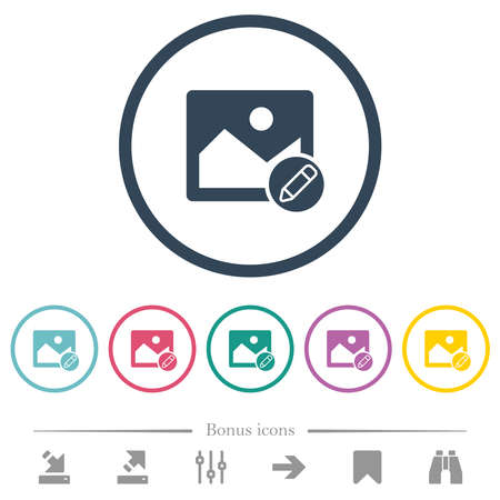 Edit image flat color icons in round outlines. 6 bonus icons included.