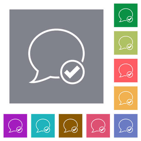 Apply message outline flat icons on simple color square backgrounds Vettoriali