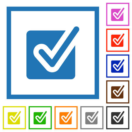 Checked box flat color icons in square frames on white background