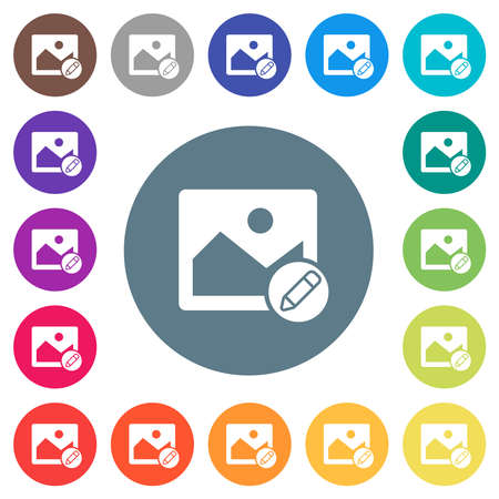 Edit image flat white icons on round color backgrounds. 17 background color variations are included.