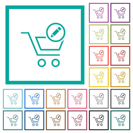 Edit cart items flat color icons with quadrant frames on white background