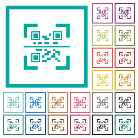 QR code scanning flat color icons with quadrant frames on white background