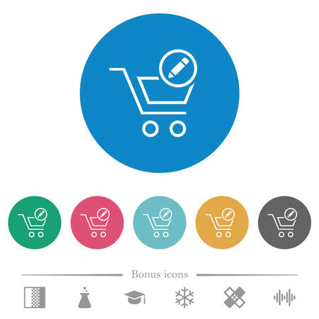 Edit cart items flat white icons on round color backgrounds. 6 bonus icons included.