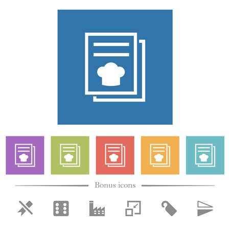 cookbook with chef hat flat white icons in square backgrounds. 6 bonus icons included.