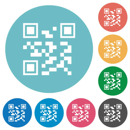 QR code flat white icons on round color backgrounds