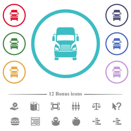 Truck front view flat color icons in circle shape outlines. 12 bonus icons included.