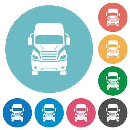 Truck front view flat white icons on round color backgrounds Ilustración de vector