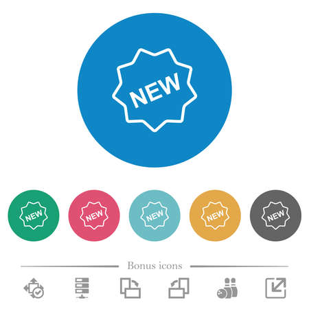 New badge outline flat white icons on round color backgrounds. 6 bonus icons included.
